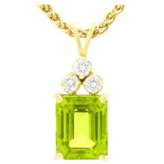 Peridot and Diamond-Set Gold Pendant