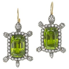 Peridot Diamond Silver and Gold Turtle Earrings