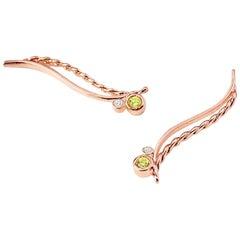 """Peridot and Diamond Wave Climber Earrings 1"""" 18 Karat"""