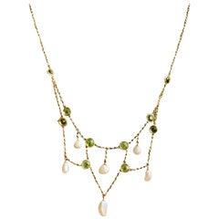 Peridot and Fresh Water Pearl Festoon 10 Karat Gold Necklace