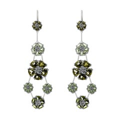 Peridot and Olive Peridot Blossom Double-Tier Chandelier Earrings