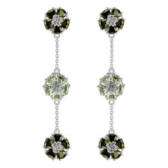 Peridot and Olive Peridot Blossom Gentile Alternating Chandelier Earrings