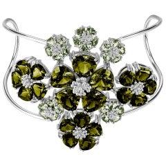 Peridot and Olive Peridot Blossom Renaissance Cuff