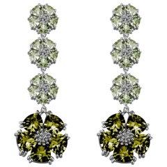 Peridot and Olive Peridot Blossom Renaissance Drop Earrings