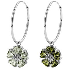 Peridot and Olive Peridot Medium Mismatched Blossom Gemstone Hoops