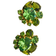 Peridot and Olivine Austrian Crystal Cluster Button Clip Earrings