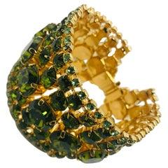 Peridot and Olivine Austrian Crystal Flex Cuff Bracelet