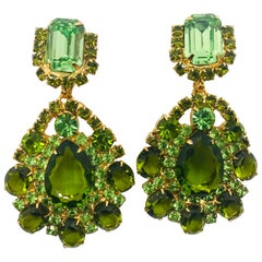 Peridot and Olivine Austrian Crystal Pendant Drop Clip Earrings
