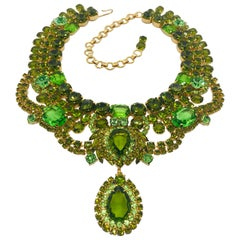 Peridot and Olivine Austrian Crystal Swag Collar Necklace with Drop
