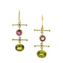 Peridot and Pink Tourmaline Gold Cross Bar Earrings