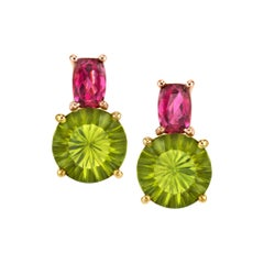 Peridot and Pink Tourmaline Earrings, 18 Karat Yellow Gold