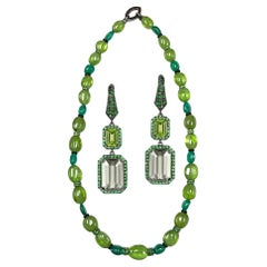 Peridot and Prasiolite Earrings and 1-Strand Peridot and Emerald Necklace