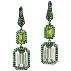 Peridot and Prasiolite with Tsavorite Earrings