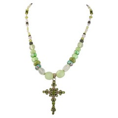 Exolette Peridot & Silver Cross on Green Stone and Handmade Glass Bead Necklace
