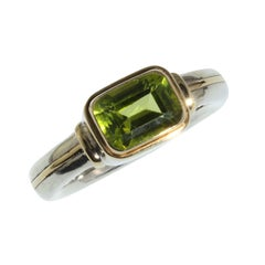 Peridot and Sterling Silver Ring with 18 Karat Gold Accents