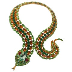 Peridot and Tangerine Austrian Crystal Snake Necklace