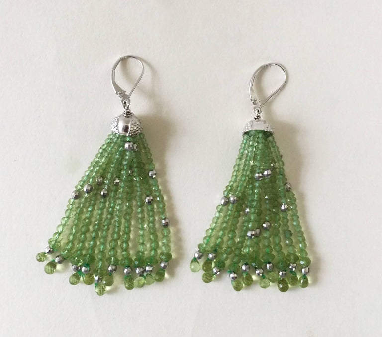 Peridot and White Gold-Plated Silver Tassel Earrings by Marina J. In New Condition For Sale In Beverly Hills, CA