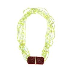 Peridot Antique Lacquer Diamonds 18 Karat Gold Necklace