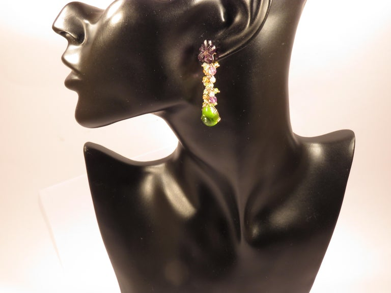Beautiful earrings in rose 9k gold with natural peridot aquamarine amethyst topaz gemstones. Total length of each earring is 55 millimeters / 2.16 inches. They are handcrafted in Italy by Botta Gioielli. This item is stamped with the Italian Gold