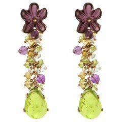 Peridot Aquamarine Amethyst Topaz 9 K Rose Gold Earrings Handcrafted in Italy