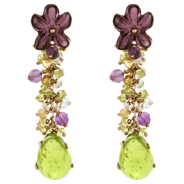 Peridot Aquamarine Amethyst Topaz Rose Gold Earrings Handcrafted in Italy For Sale