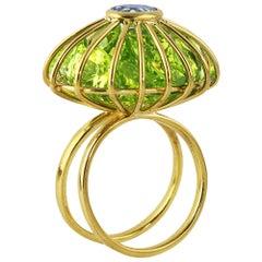 Ico & the Bird Fine Jewelry 17 carat Peridot Aquamarine 18k Gold Cage Ring