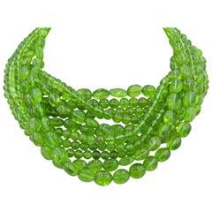 Peridot Bead Choker Necklace