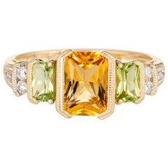 Peridot Citrine Diamond Ring Estate 14 Karat Yellow Gold Square Mixed Gemstones