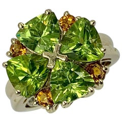 Peridot Citrine Heart Ring 14 Karat Gold Retro Vintage