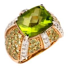 Peridot Diamond 18 Karat Gold Dome Cocktail Ring