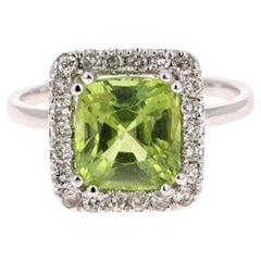 Peridot Diamond 3.52 Carat White Gold Ring