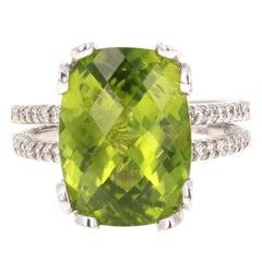 8.66 Carat Peridot Diamond 14 Karat White Gold Ring