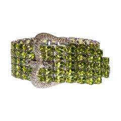 Peridot, Diamond and 18k Gold Buckle Bracelet