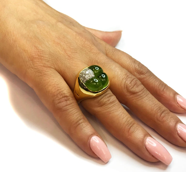 Peridot Diamond and Gold Cocktail Ring Pomellato For Sale 1