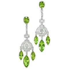 Peridot, Diamond and Platinum Pendant Earrings