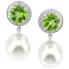 Peridot, Diamond, and South Sea Pearl Convertible Earrings by Dan Peligrad