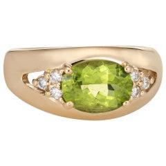 Peridot Diamond Band Vintage 14 Karat Yellow Gold Ring Estate Fine Jewelry