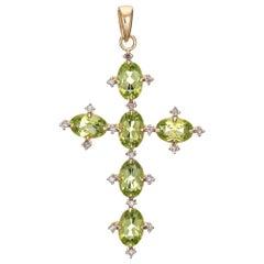 Peridot Diamond Cross Estate 14 Karat Yellow Gold Vintage Fine Religious Jewelry