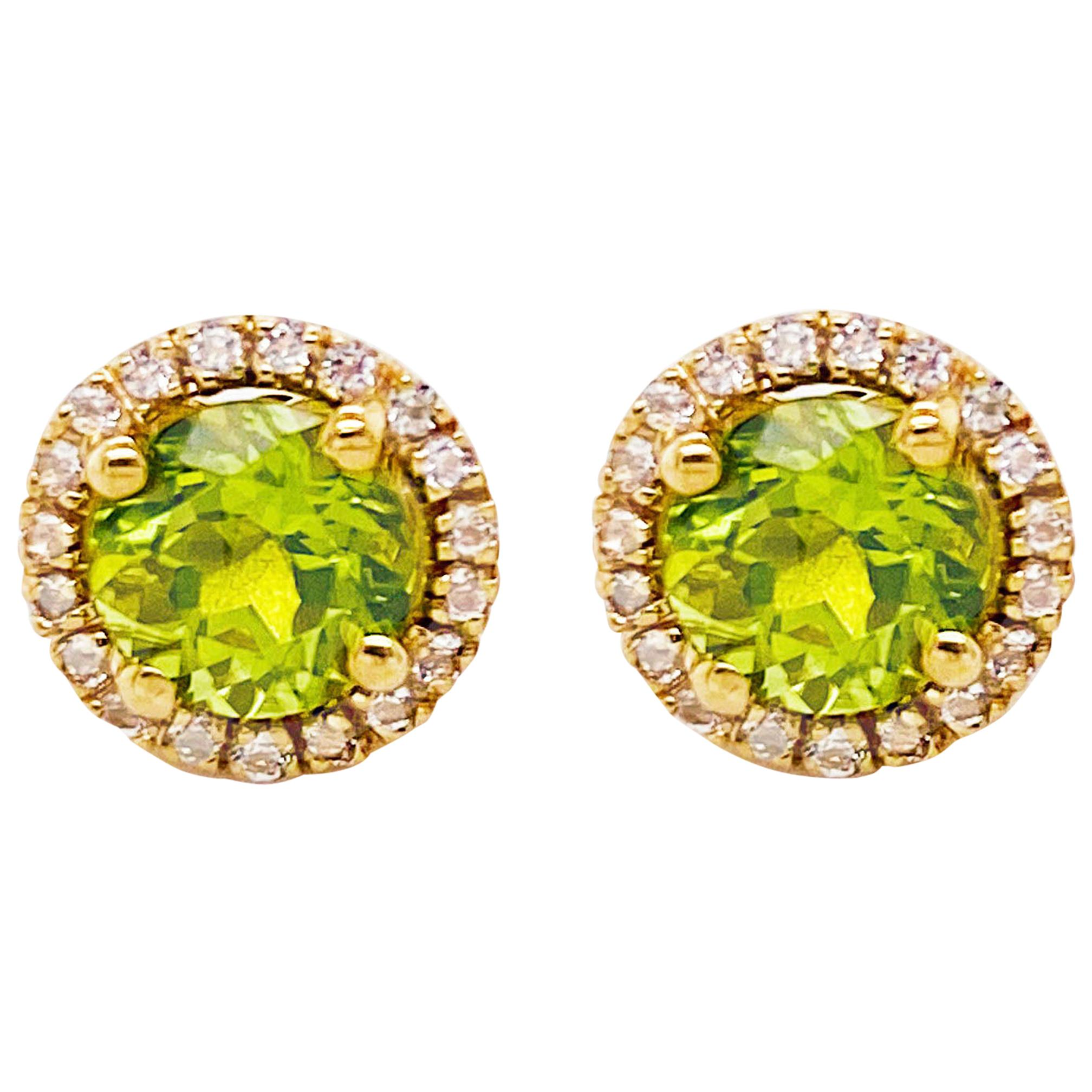 Peridot & Topaz Earrings with White Topaz Halo Studs - 3 Carat Total Weight