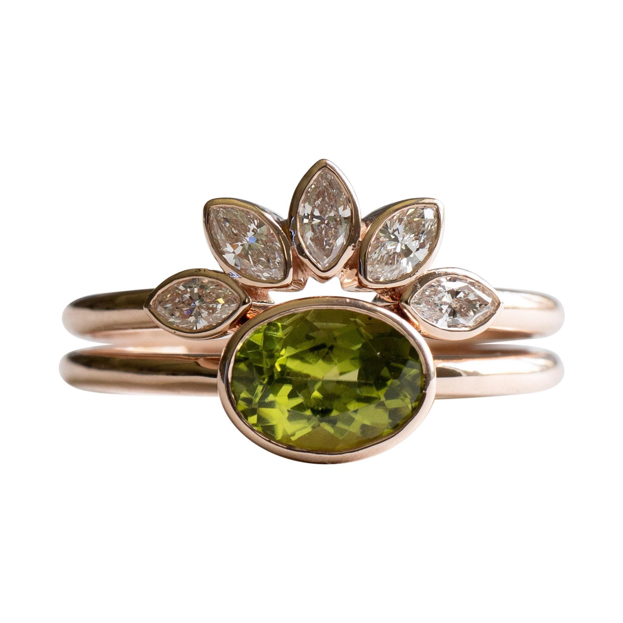Peridot Diamond Engagement Set in 14 Karat Rose Gold Ring