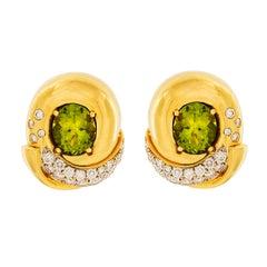 Peridot Diamond Gold Fold Over Earrings