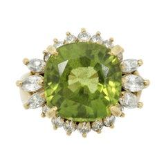 Peridot Diamond Gold Ring