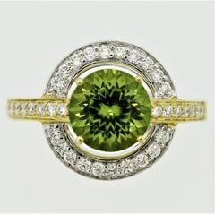 Peridot Diamond Gold Two-Tone Ring