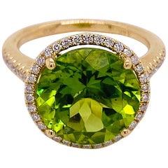 Peridot Diamond Halo Ring, 14K Yellow Gold Halo Cathedral Round 7.29 ct Gem Ring