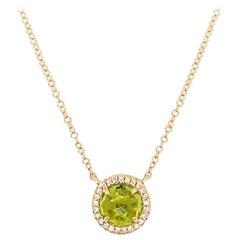 Peridot Diamond Necklace, 1.20 Carat Genuine Peridot, Diamond Halo Pendant