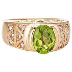 Peridot Diamond Ring Vintage 14 Karat Yellow Gold Estate Fine Jewelry