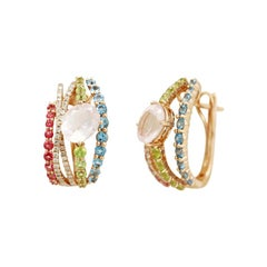Peridot Diamond Rose Quartz Topaz Rose Gold 14 Karat Earrings