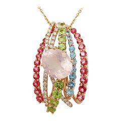 Peridot Diamond Rose Quartz Topaz Rose Gold 14 Karat Pendant