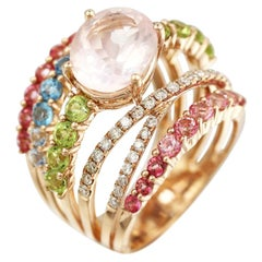 Peridot Diamond Rose Quartz Topaz Rose Gold 14 Karat Ring