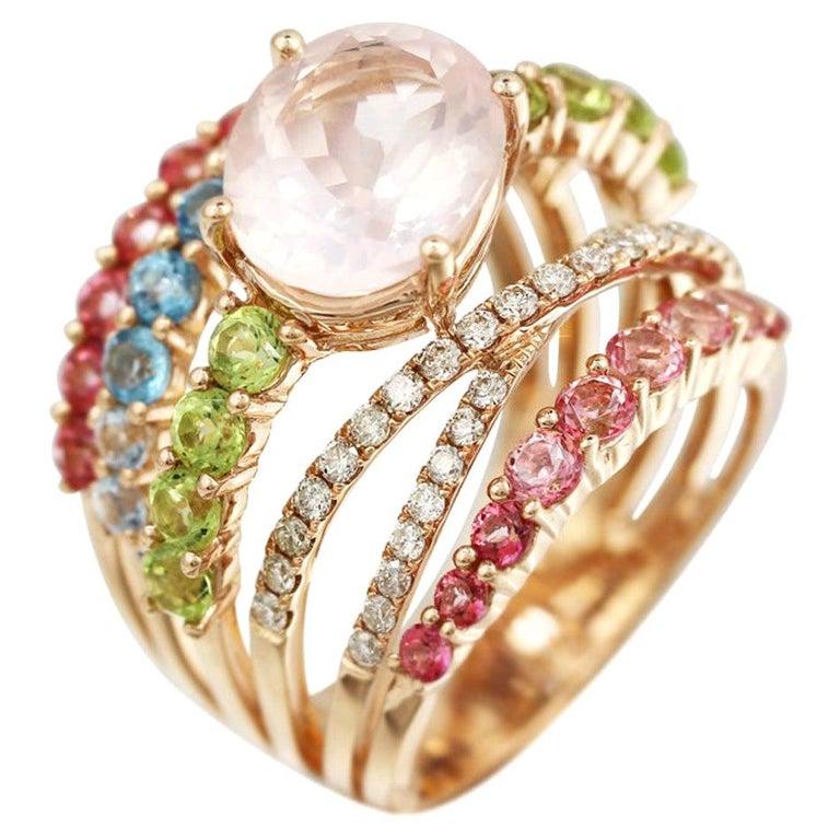 Peridot Diamond Rose Quartz Topaz Rose Gold 14 Karat Ring For Sale